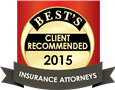 2015 Best Client Recommended  Insurance Attorneys Badge